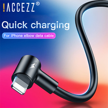 !ACCEZZ 90 Degree Lighting USB Cable For iPhone X XS MAX XR 7 8 6 5 5s 6s Tablet Fast Charging Mobile Phone Data Cables 1m 2m
