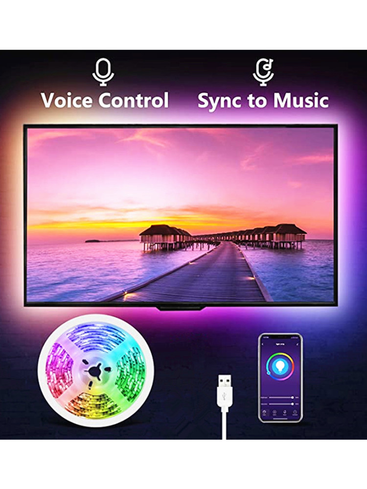 Led-Strip-Light Lighting Bluetooth 5v Tv Led-Lamp 5050smd-Tape Music RGB DC 1M 2M 3M