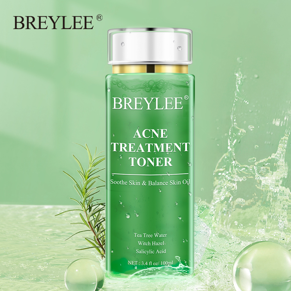 BREYLEE Acne Treatment Toner Pimple Remove Facial Serum Oil Control Moisturizing Whitening Gentle Soothing Dry Skin Care 100ml