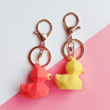 2020 Creative Geometric The silicone Duck Keychain  Fashion Delicacy Key Chain Women Bag Charm Pendant Key Ring  Pendant Gift 2020 new key chain duck key chain mickey daisy key ring pendant student schoolbag pendant the best gift