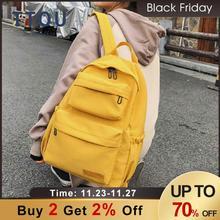 Décontracté femmes sac à dos solide couleur toile sac décole pour adolescents ordinateur portable grande capacité sacs de voyage vert rouge jaune livre sac