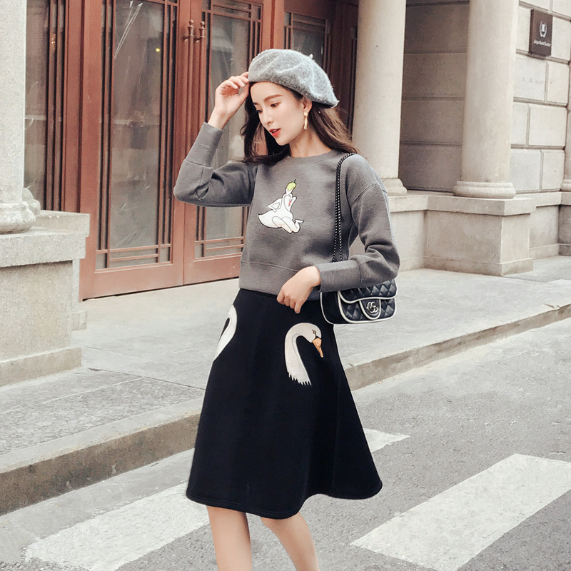 Autumn And Winter New Style Korean-style Simple Solid Color CHIC Embroidery Navel Hoodie Two-Piece Set