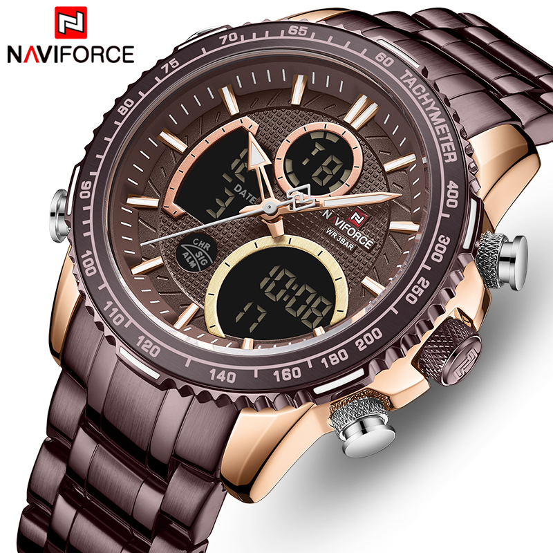 NAVIFORCE Mens Quartz Watches Luminous Waterproof Sport Watch Men Big Dial Chronograph Wrist Watch Male Clock Relogio Masculino