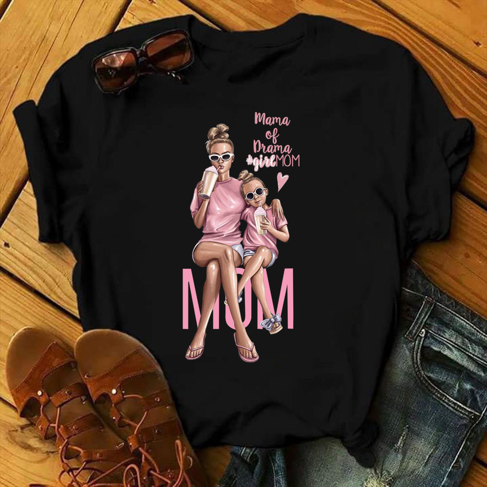 ZOGANKIN Girl Mom T shirt Women Mother's Love Print Black T shirt Harajuku Mama TShirt Vogue Tops tee shirt Femme