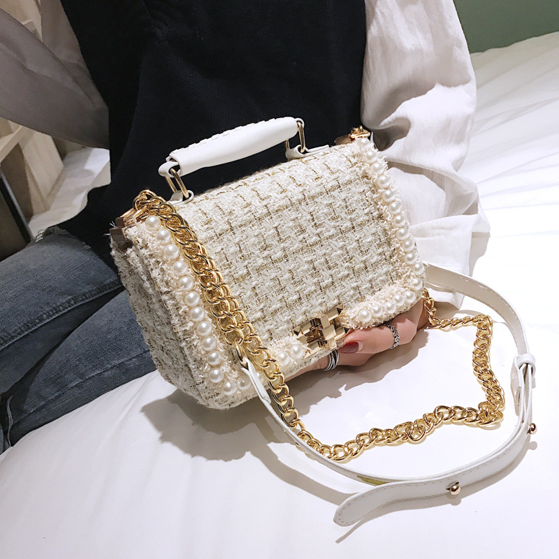 Small Fragrance Pearl Woolen Bag 2020 Fashion New Women Handbags High Quality Woolen Female Bag Lady Temperament Shoulder Bag