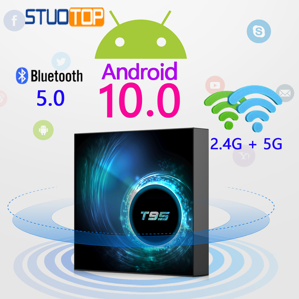 T95 Smart TV Box Android 10 4k 6k 4g 32gb 64gb 2.4g dan 5g WiFi - Audio dan video rumah - Foto 1