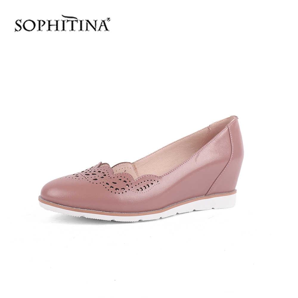 SOPHITINA moda tasarım pompaları yüksek kalite hakiki deri rahat kama yuvarlak ayak el yapımı ayakkabı yeni kadın botları C520