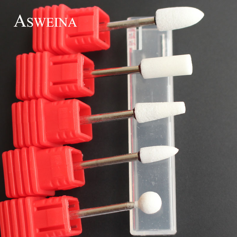 ASWEINA 1pcs White Colors Ceramic Stone Nail Drill Bit Nail Art Tools Electric Manicure Machine Accessories Cutter Nail Files