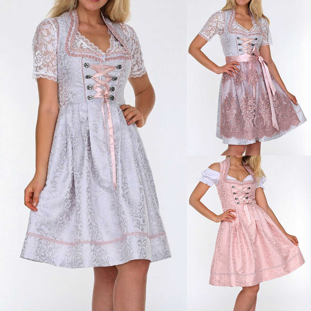 Heflashor 2019 Short German Oktoberfest Dirndl Dress Girl White & Pink Germany Tradition Costume Female Dirndl Dress