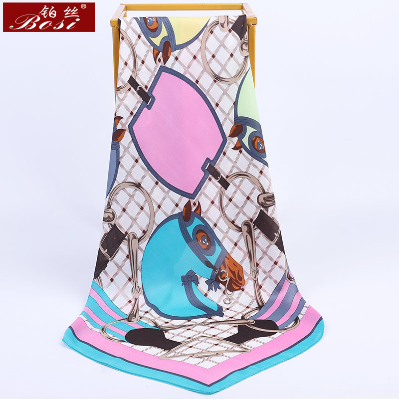 BOSI Scarf White Plaid Lattice Print Silk Satin Fashion Square Scarf For Women Blue Horse Print Small Shawl Luxury Brand Scarves