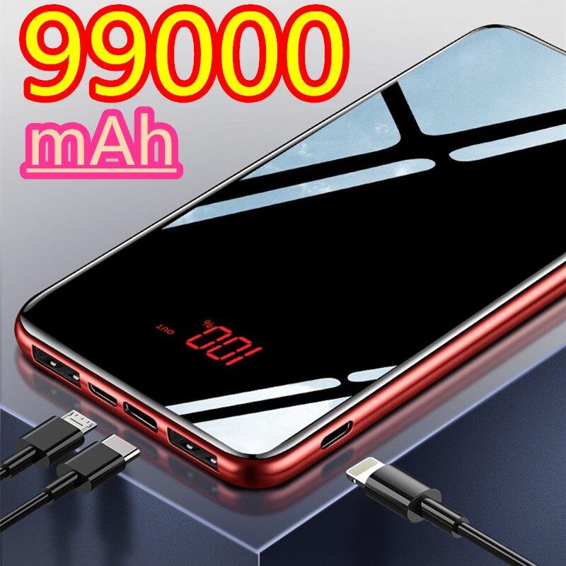 Дополнительный внешний аккумулятор 99000 мА/ч, быстрое зарядное устройство с двумя портами USB большой емкости быстрой зарядки, портативное за...