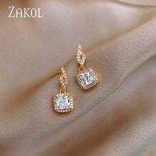 ZAKOL-pendientes de Colgante cuadrado de circón brillante para mujer, joyería Coreana de lujo, aretes inusuales para fiesta de Navidad, 2021
