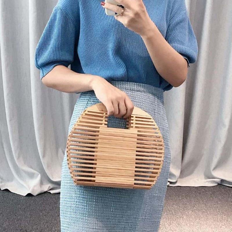 2020  Women Half Moon Bamboo Handbag Handmade Bamboo Purse Clutch Tote Summer Straw Beach Bag (With Scarf) New