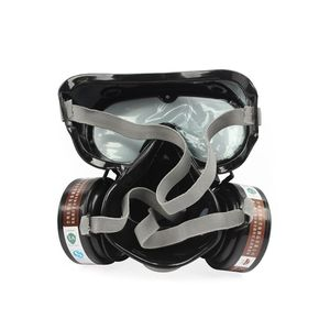 Image 4 - 2in1 الصناعية الغبار قناع مكافحة الغبار مكافحة السموم حملق عيون الأنف الفم حماية التنفس قناع واقي من الغاز السلامة الكيميائية أقنعة