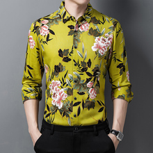 Shirts Mens Beach-Clothes Flowers-Printed Fashion-Dress Long-Sleeve Floral-Plus Yellow