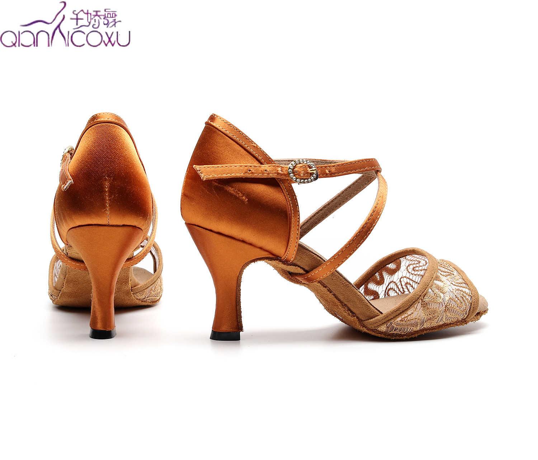 Moda caz Salsa balo salonu Latin dans ayakkabıları dans kadın sosyal kutup leopar topuklu 1060 Tan ayakkabı yaz sandalet