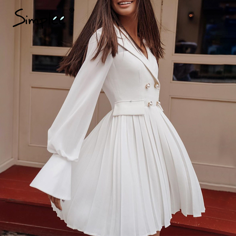 Simplee Vintage Pleated Blazer Women Dress Elegant Lapel Office Ladies Button Dress Long Sleeve Female Spring Midi Party Dresses