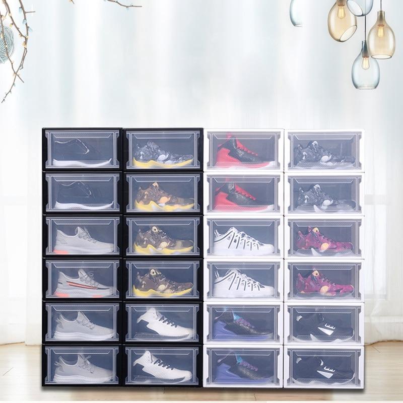 Plastic PP Translucent Shoe Box Multifunction Home Dust-Proof Drawer Combination Storage Boxes Men/Women Shoes Organizer black
