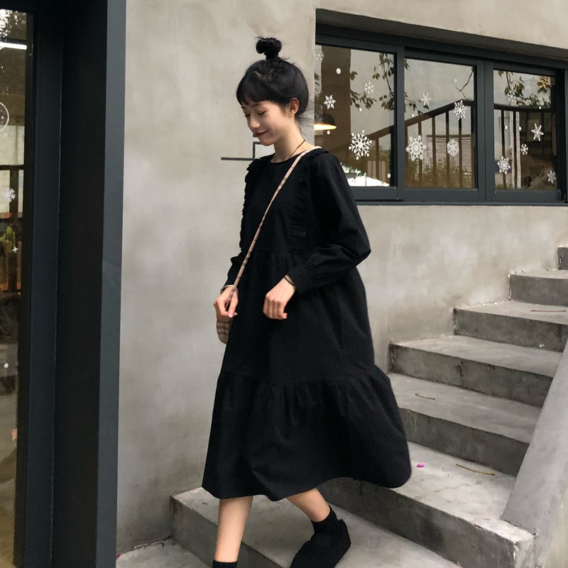 Spring WOMEN'S Dress Korean-style Elegant Mid-length Solid Color Frilled College Style Loose-Fit Dress Long Skirts Students Skir