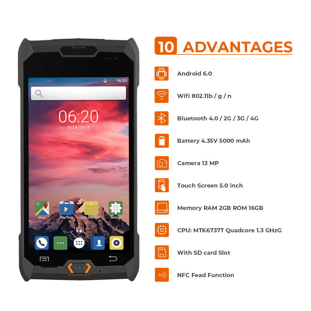 ISSYZONEPOS Robuuste Android PDA 4G Handheld POS Terminal 1D 2D NFC bar codes Reader Draadloze Barcode Scanner Wifi Data collector
