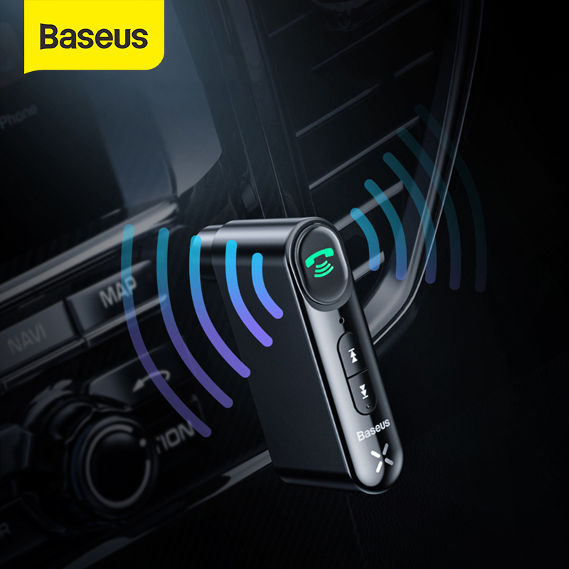 Baseus samochód Aux Bluetooth 5.0 Adapter bezprzewodowy 3.5mm odbiornik Audio dla Auto zestaw samochodowy zestaw głośnomówiący Bluetooth, głośnik słuchawki