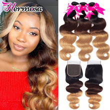 Bundle Closure Weave Human-Hair Brazilian Hermosa 4/27