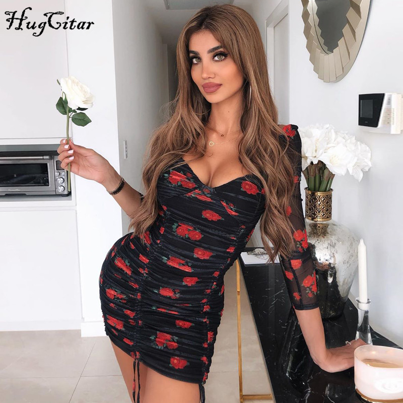 Hugcitar 2020 Floral Print Mesh Long Sleeve Patchwork Sexy Mini Dress Spring Women Party Cute Ruched Streetwear Outfits