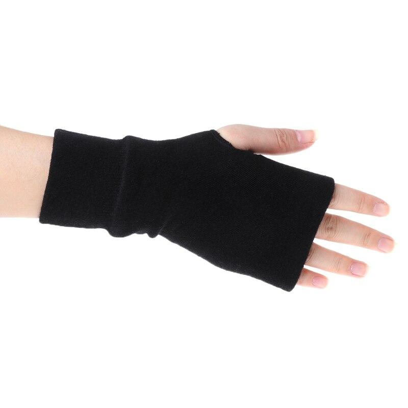 Coslony 2020 Black Fashion Unisex Men Women Winter Gloves Soft Warm Mitten Knitted Fingerless Solid Black Soft