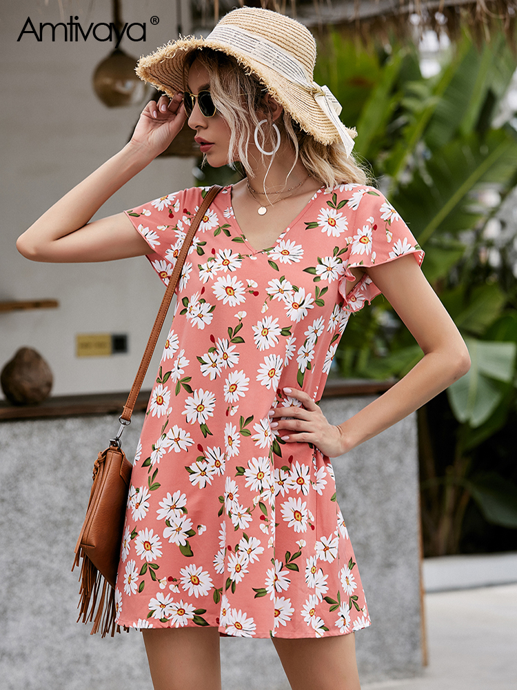 Amtivaya Pink Daisy Floral Chiffon Dress Beach Holiday Elegant Party Clothing Print 2020 Vintage V-Neck Woman Loose Petal Summer