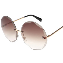 XaYbZc Round Cut Rimless Sunglasses Women Men Vintage Fashio