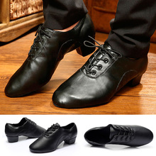 Mens Latin Ballroom Dance Shoes Professional Black Canvas Salsa Plus Size Low Heel Tango