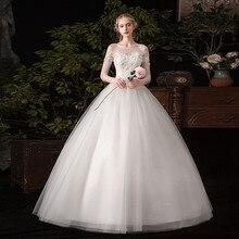 Свадебное платье Новинка года, кружевное бальное платье с коротким рукавом, романтическое свободное платье принцессы, Классические свадебные платья с аппликацией C30