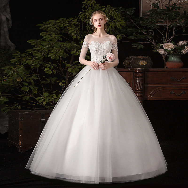 Wedding Dress 2020 New The Half Sleeve Lace Up Ball Gown Romantic Wedding Gowns Princess Classic Appliques Wedding Dresses C30