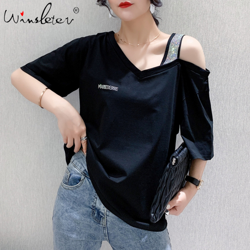 Summer Korean Clothes Loose T-shirt Fashion Sexy Off Shoulder Diamonds Cotton Women Tops Ropa Mujer Short Sleeve Tees T06825