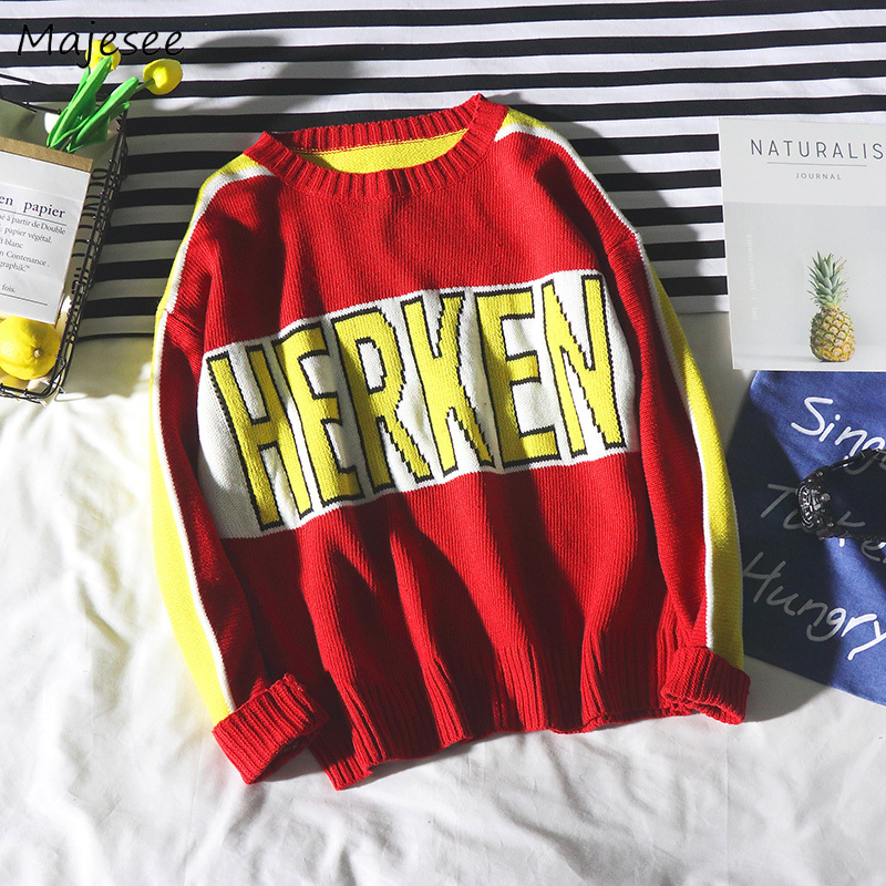 Sweaters Men O-Neck Knitting Soft Warm Letter Printed Simple All-match Korean Style Daily Harajuku Sweater Mens Loose Clothes