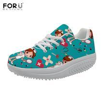 FORUDESIGNS 2020 מותג מעצב נשים נעלי סיעוד מזדמן הרזיה נדנדה נעליים חמוד אחות הדפסת נשים פלטפורמת הגדלת נעליים