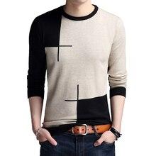 Sweate neck editado camisola de malha fina hit color magro suéteres masculinos de manga comprida primavera outono