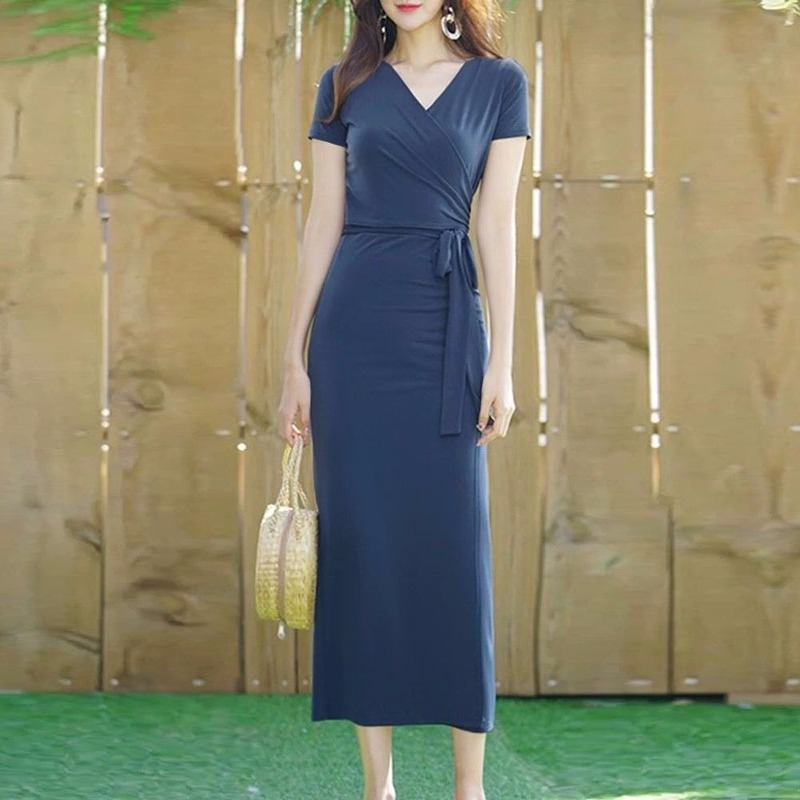 V-neck Slim Slimming Lace-up Waist Dress Female Solid Color Short-sleeved Sexy Pleated Empire Tight-fitting Dresses Women Spring