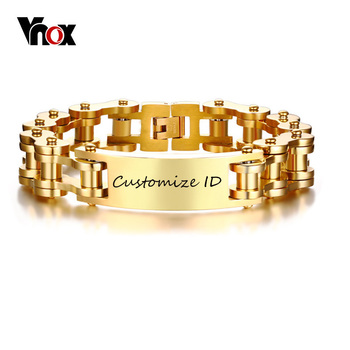 Vnox Free Personalized Engraving Record 12MM ID Bracelet for Men Gold Tone Stainless Steel Bike Chain 9.25