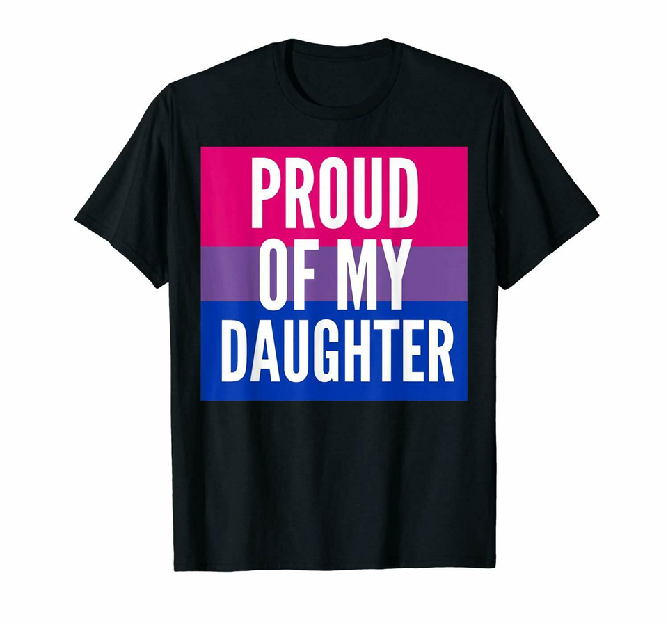 Black Proud Of My Bi Daughter - Proud Mom Or Dad <font><b>Bisexual</b></font> <font><b>T</b></font> <font><b>Shirt</b></font> 100% Cotton Diy Prited Tee <font><b>Shirt</b></font> image