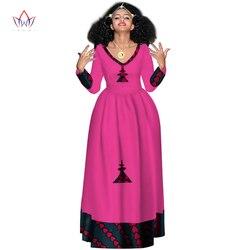 Nieuwe Afrikaanse Bazin Jurken Voor Vrouwen Afrikaanse Volledige Mouw Jurken Voor Vrouwen V-hals In Afrikaanse Kleding Wax Dashiki Stof WY2998