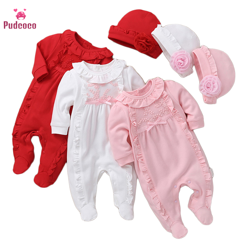 Pudcoco Newborn 18 Month Baby Girl Clothes Hat Lace Solid Floral Ruffle Long Sleeve Bowknow Footies Bebe Bodsuits One Pieces Set