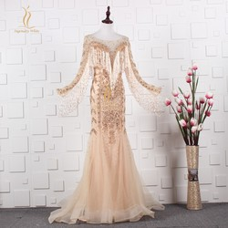 Luxury Evening Dresses with Long Sleeves Tassel Beading Embroidery Sequins Formal Celebrity Gowns Illusion Back Robe De Soiree