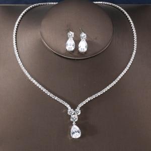 Image 1 - RAKOL New Fashion Luxury AAA Zircon Water Drop Shape Necklace Earrings jewelry Set for Women Party wedding Dress Accessories