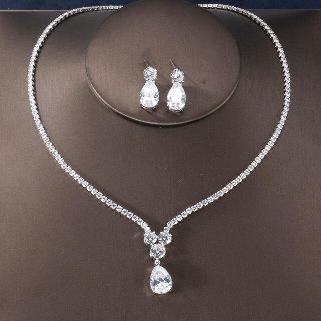 RAKOL New Fashion Luxury AAA Zircon Water Drop Shape Necklace Earrings jewelry Set for Women Party wedding Dress Accessories