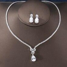 RAKOL New Fashion Luxury AAA cyrkon kropla wody kształt naszyjnik kolczyki komplet biżuterii damskiej sukienka na wesele akcesoria