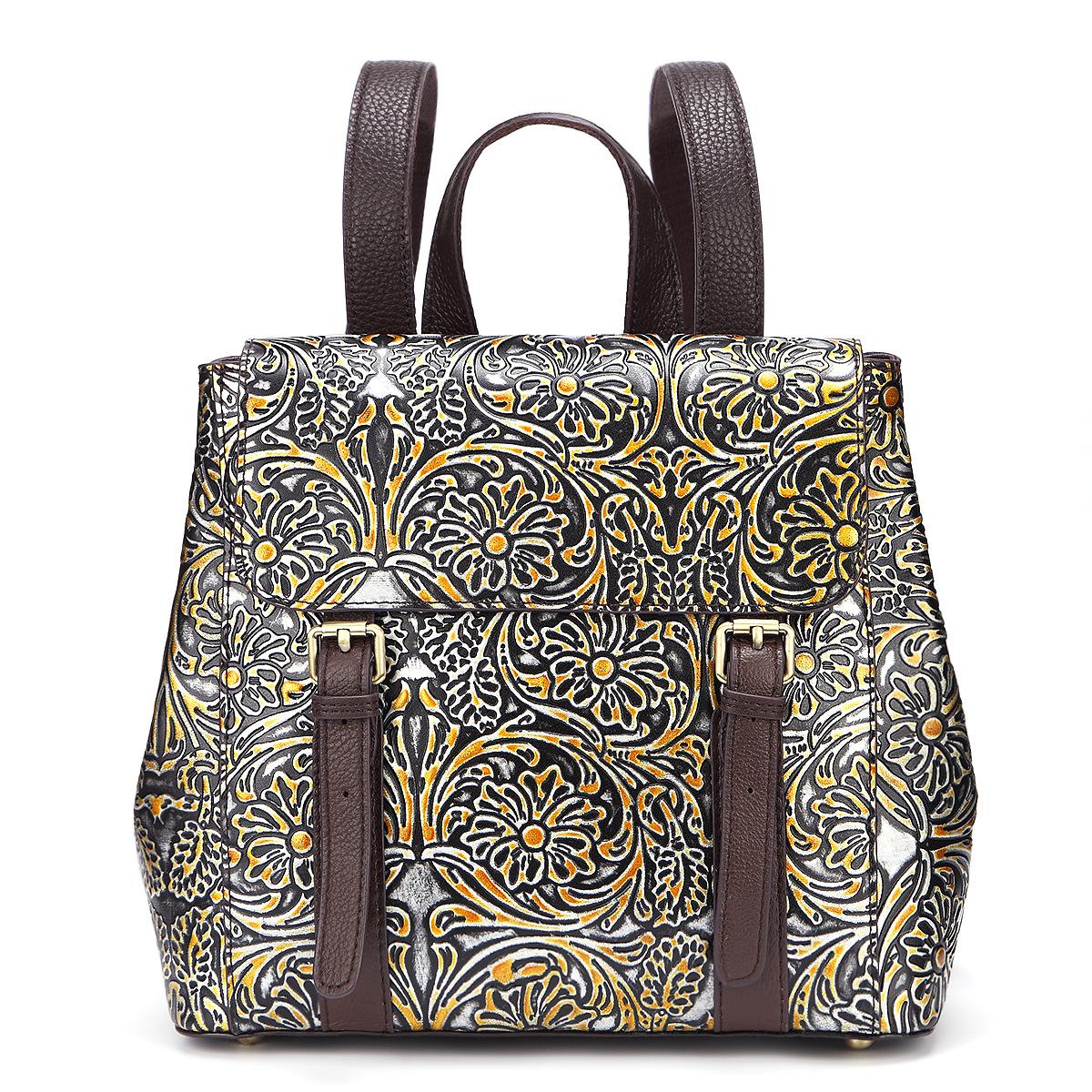 1 шт кожаный повседневный рюкзак с цветочным принтом
