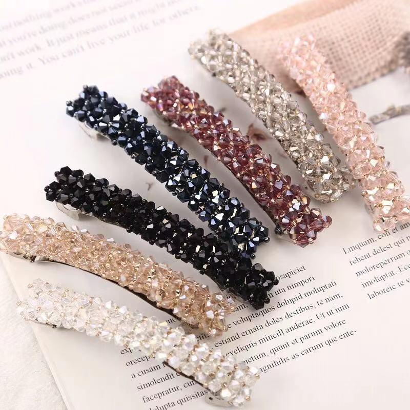 20201New Fashion Women Rhinestone Hair Clip Girls Snap Hair Barrette Stick Hairpin Hair Styling Accessories For Women Girls