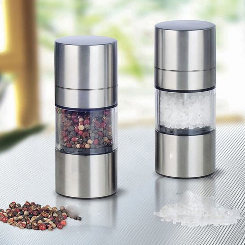 everd1487HH Portable Manual Hand Twist Pepper Mill-Spice Salt Grinder Kitchen Grinding Tool,Portable Multifunctional Storage Bottles Empty Box Cans Black