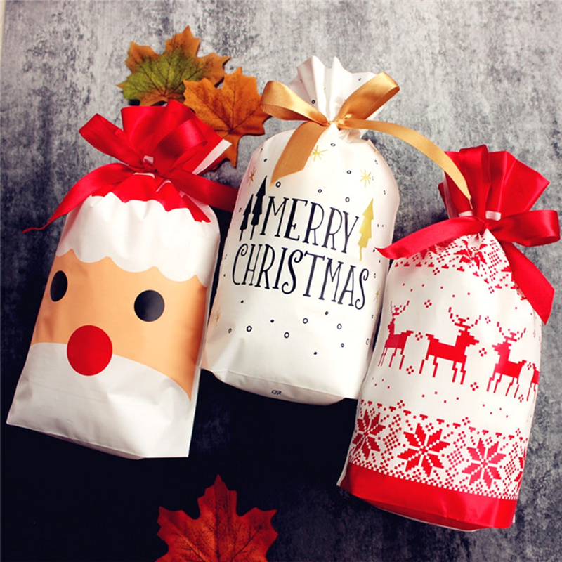 10pcs Merry Christmas Gift Bags Children Cartoon Drawstring Pocket Happy New Year Xmas Tree Packing Bags Candy Pouches